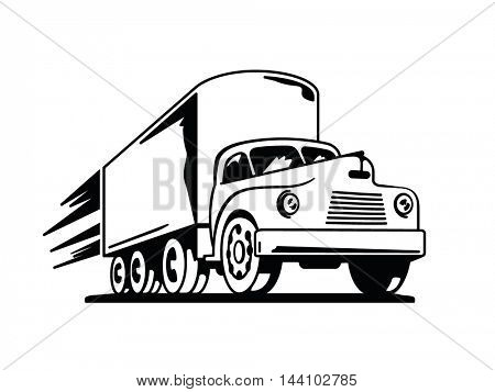 Retro transport. Perspective drawing of vintage truck with speed streaks