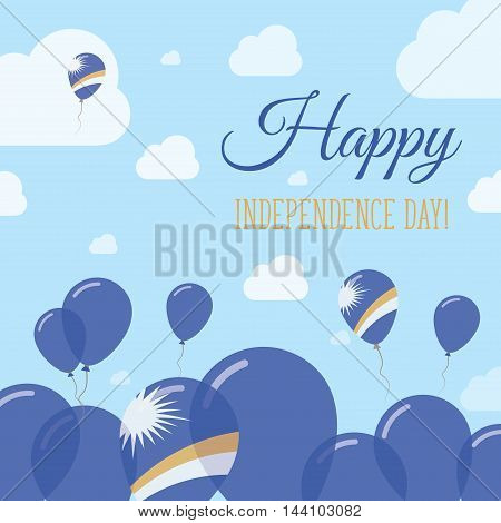 Marshall Islands Independence Day Flat Patriotic Design. Marshallese Flag Balloons. Happy National D