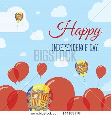 Andorra Independence Day Flat Patriotic Design. Andorran Flag Balloons. Happy National Day Vector Ca