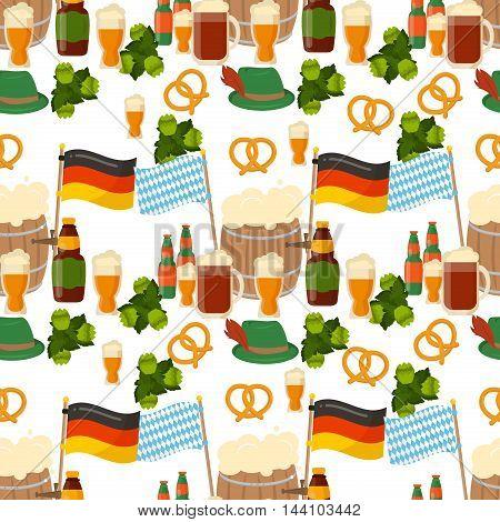 German festival seamless pattern Bavarian Oktoberfest vector background. Vector seamless pattern for Oktoberfest flat style. Traditional for autumn festival. Vector seamless pattern for Oktoberfest.