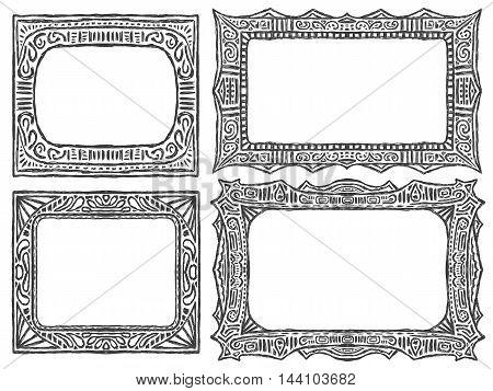 Doodle Tribal Frames Ethnic Ornament Set