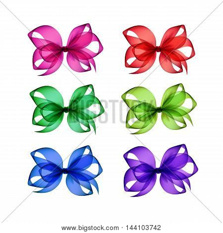 Vector Set of Colored Bright  Red  Pink  Purple Blue Light Green Emerald Transparent Gift Bows Close up Isolated on White Background