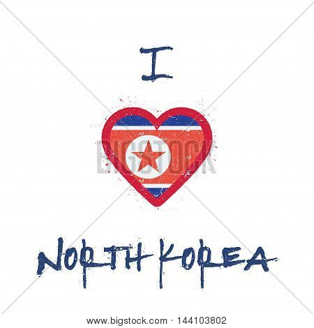 I Love Korea, Democratic People's Republic Of T-shirt Design. North Korean Flag In The Shape Of Hear