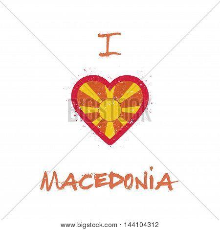 I Love Macedonia, The Former Yugoslav Republic Of T-shirt Design. Macedonian Flag In The Shape Of He