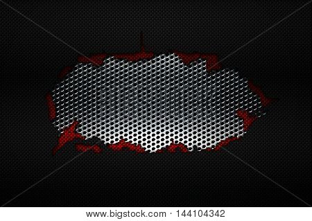 black and red carbon fiber tear on the black metallic mesh. background and texture. 3d illustration.