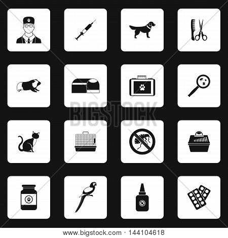 Veterinary icons set in simple style. Vet clinic set collection vector illustration
