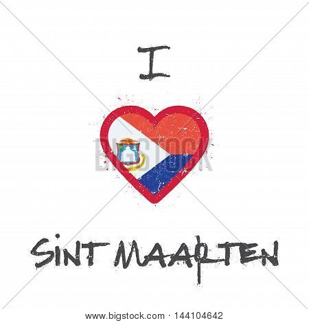 I Love Sint Maarten T-shirt Design. Dutch Flag In The Shape Of Heart On White Background. Grunge Vec