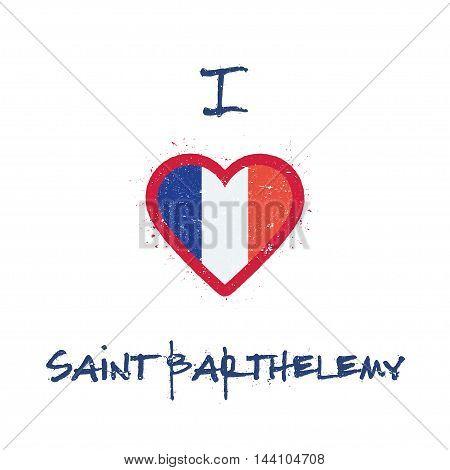 I Love Saint Barthelemy T-shirt Design. Saint Barthelemy Islander Flag In The Shape Of Heart On Whit