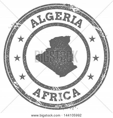 Algeria Grunge Rubber Stamp Map And Text. Round Textured Country Stamp With Map Outline. Vector Illu