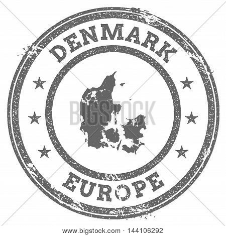 Denmark Grunge Rubber Stamp Map And Text. Round Textured Country Stamp With Map Outline. Vector Illu