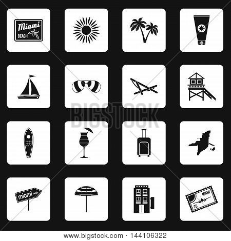 Miami icons set in simple style. Miami elements set collection vector illustration