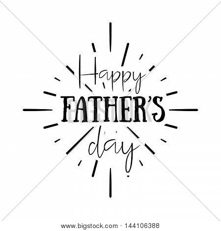 Happy Father's Day Retro calligraphic vector design element. Happy Father's Day Vintage Typographical logo design. Happy Fathers Day retro lettering invitation labels with rays.