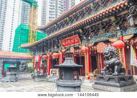 HONG KONG - MAY 27: Wong Tai Sin Temple a famous tourist attraction of Hong Kong on May 27 2016 in Hong Kong.