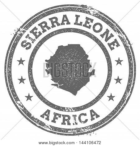 Sierra Leone Grunge Rubber Stamp Map And Text. Round Textured Country Stamp With Map Outline. Vector