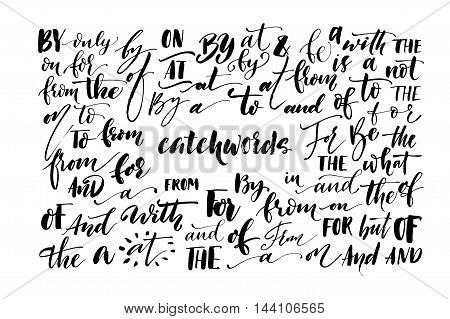 Collection of hand drawn catchwords. Calligraphic elements for your design. Ink illustration. Modern brush calligraphy. Isolated on white background.