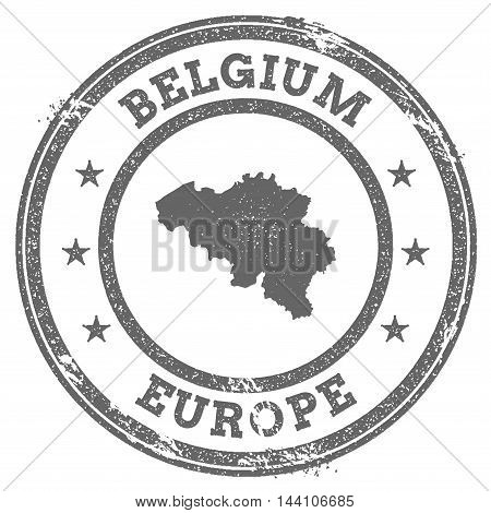 Belgium Grunge Rubber Stamp Map And Text. Round Textured Country Stamp With Map Outline. Vector Illu