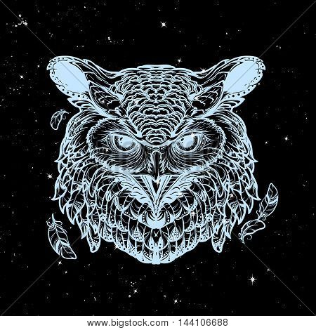 Beautiful detailed illustration of an owl head in frontal view. Coloring book for adults illustration. Sybol of wisdom and knowledge. Nightsky background with stars. EPS10 vector illustration.