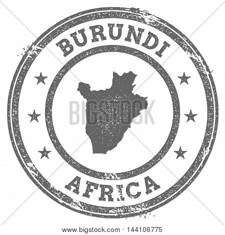 Burundi Grunge Rubber Stamp Map And Text. Round Textured Country Stamp With Map Outline. Vector Illu