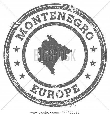 Montenegro Grunge Rubber Stamp Map And Text. Round Textured Country Stamp With Map Outline. Vector I