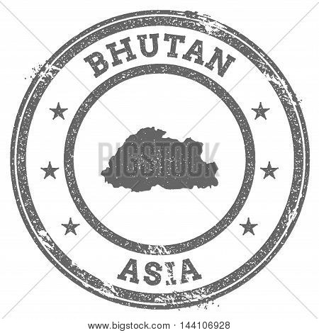 Bhutan Grunge Rubber Stamp Map And Text. Round Textured Country Stamp With Map Outline. Vector Illus