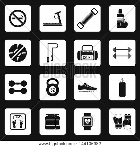 Fitness icons set in simple style. Sport equipment set collection vector illustration