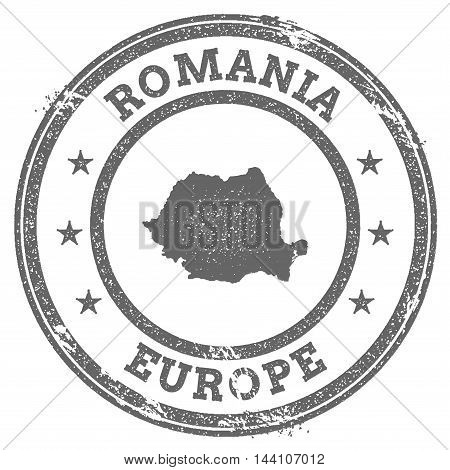 Romania Grunge Rubber Stamp Map And Text. Round Textured Country Stamp With Map Outline. Vector Illu