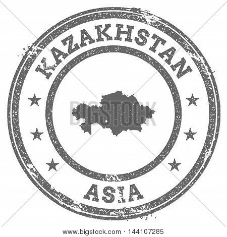 Kazakhstan Grunge Rubber Stamp Map And Text. Round Textured Country Stamp With Map Outline. Vector I