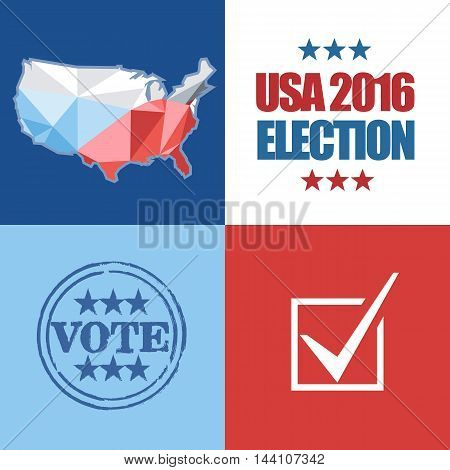 Usa 2016 election card with country map vote stamp and checkbox. Digital vector image