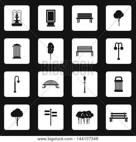 Park icons set in simple style. Outdoor elements set collection vector illustration