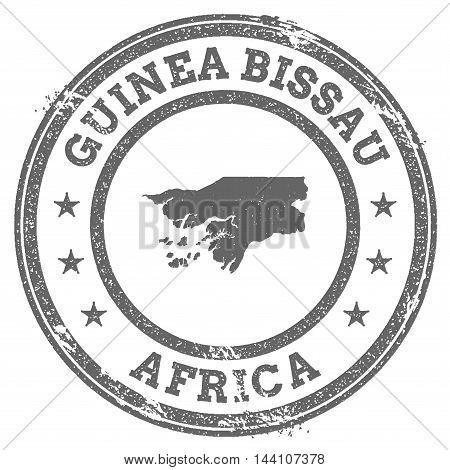 Guinea-bissau Grunge Rubber Stamp Map And Text. Round Textured Country Stamp With Map Outline. Vecto