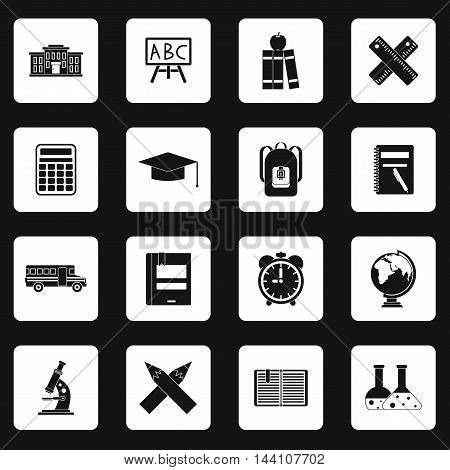 School icons set in simple style. Education set collection vector illustration
