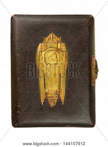 Vintage photo album cover (circa 1900) with buckle and brass engraved decoration isolated on white contains clipping path