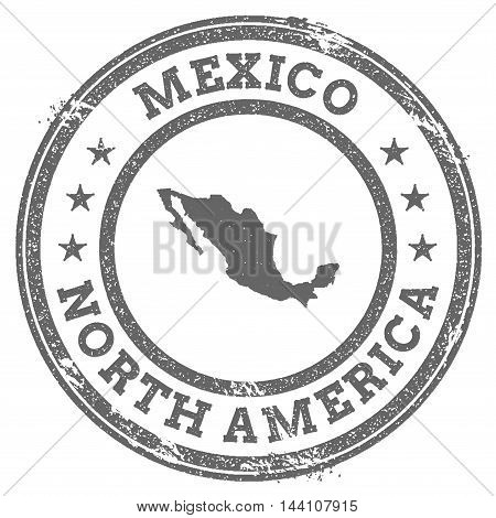 Mexico Grunge Rubber Stamp Map And Text. Round Textured Country Stamp With Map Outline. Vector Illus