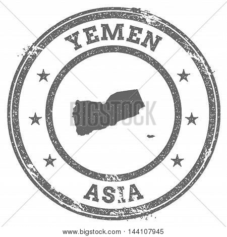Yemen Grunge Rubber Stamp Map And Text. Round Textured Country Stamp With Map Outline. Vector Illust