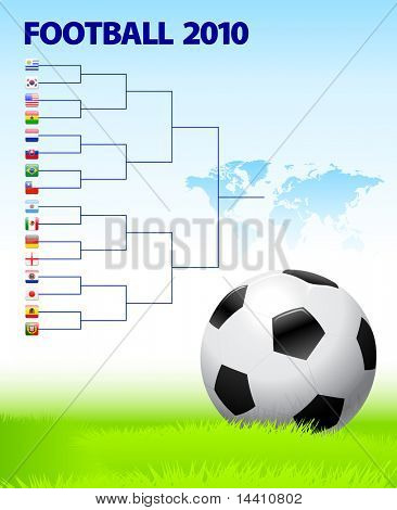 2010 Soccer Bracket with World Map Background Original Illustration