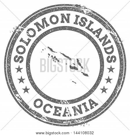 Solomon Islands Grunge Rubber Stamp Map And Text. Round Textured Country Stamp With Map Outline. Vec
