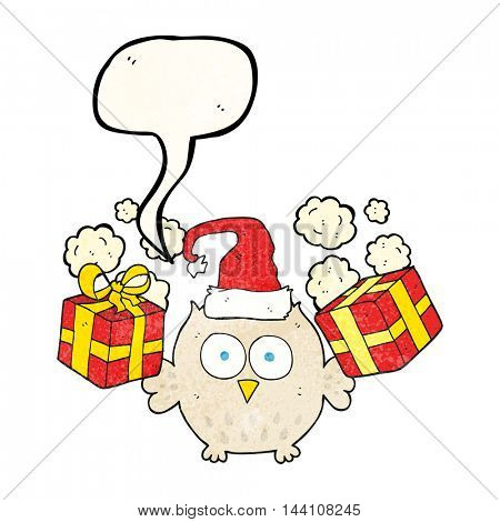 freehand speech bubble textured cartoon christmas owl
