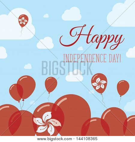 Hong Kong Independence Day Flat Patriotic Design. Chinese Flag Balloons. Happy National Day Vector C