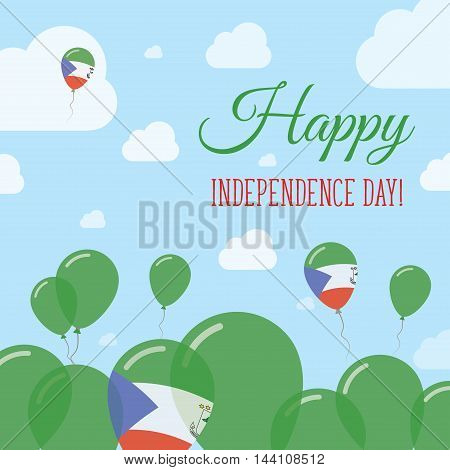 Equatorial Guinea Independence Day Flat Patriotic Design. Equatorial Guinean Flag Balloons. Happy Na