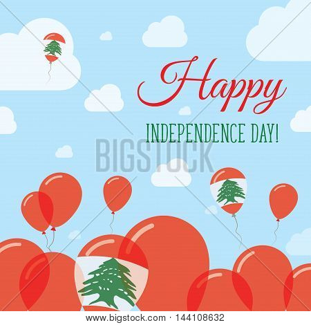 Lebanon Independence Day Flat Patriotic Design. Lebanese Flag Balloons. Happy National Day Vector Ca