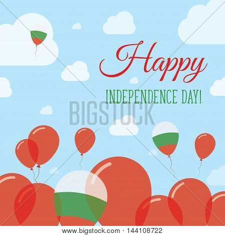 Bulgaria Independence Day Flat Patriotic Design. Bulgarian Flag Balloons. Happy National Day Vector