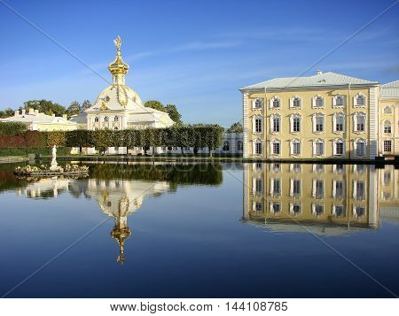PETERHOF, RUSSIA - September 19, 2011: Photo of Upper Garden. Fountains square ponds.