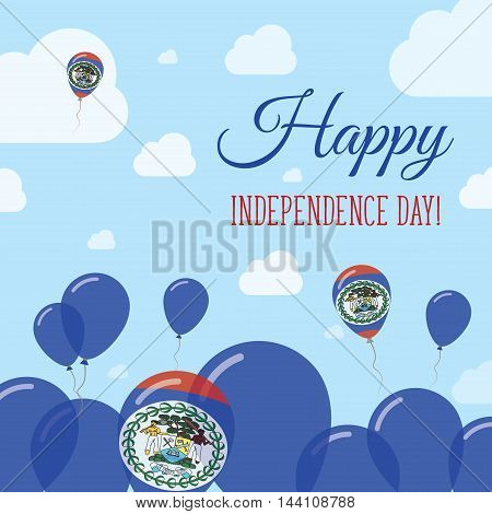Belize Independence Day Flat Patriotic Design. Belizean Flag Balloons. Happy National Day Vector Car