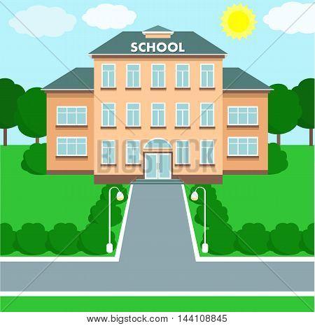 School building over landscape background. Vector illustration.