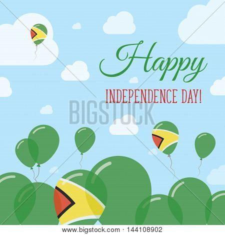 Guyana Independence Day Flat Patriotic Design. Guyanese Flag Balloons. Happy National Day Vector Car