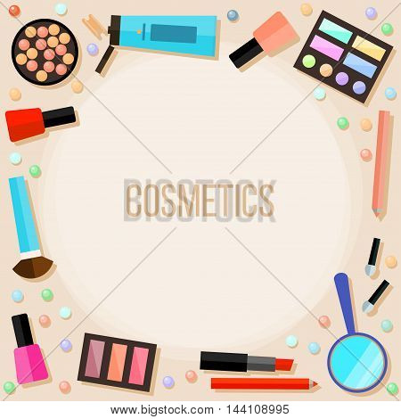 Flat cosmetic card background for use in design.