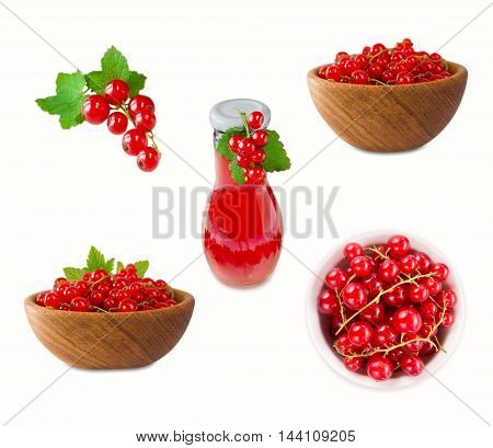 Red Currants isolated on white background. Ripe and tasty currants.