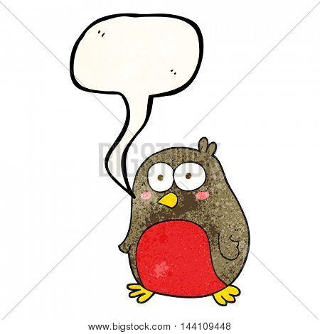 freehand speech bubble textured cartoon robin