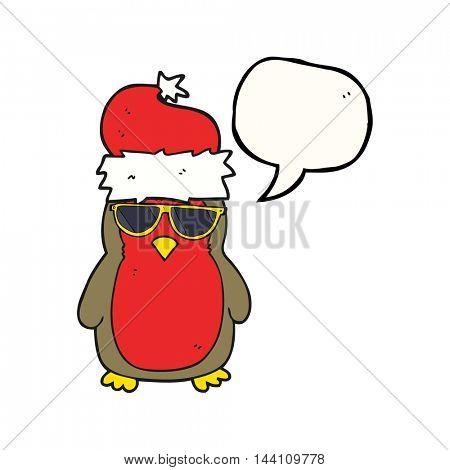 freehand drawn speech bubble cartoon cool christmas robin