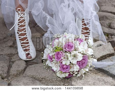 beautifull bouquet of bride in the old town